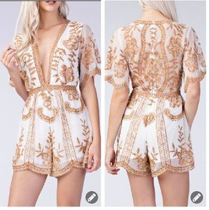 Honey Punch white colorful embroidered romper 3299